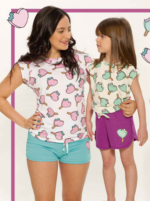 "Pijama nena ""Funny"" jersey.short liso c/lazo regulable y remera lisa c/estampa"