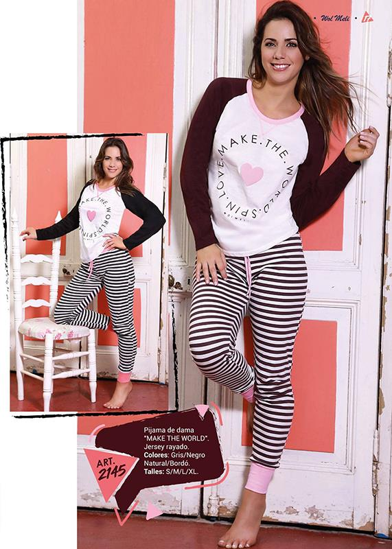Pijama de dama MAKE THE WORLD - Jersey rayado