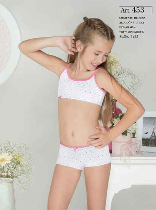 Conj nena algodon y lycra  estampado Top y mini short