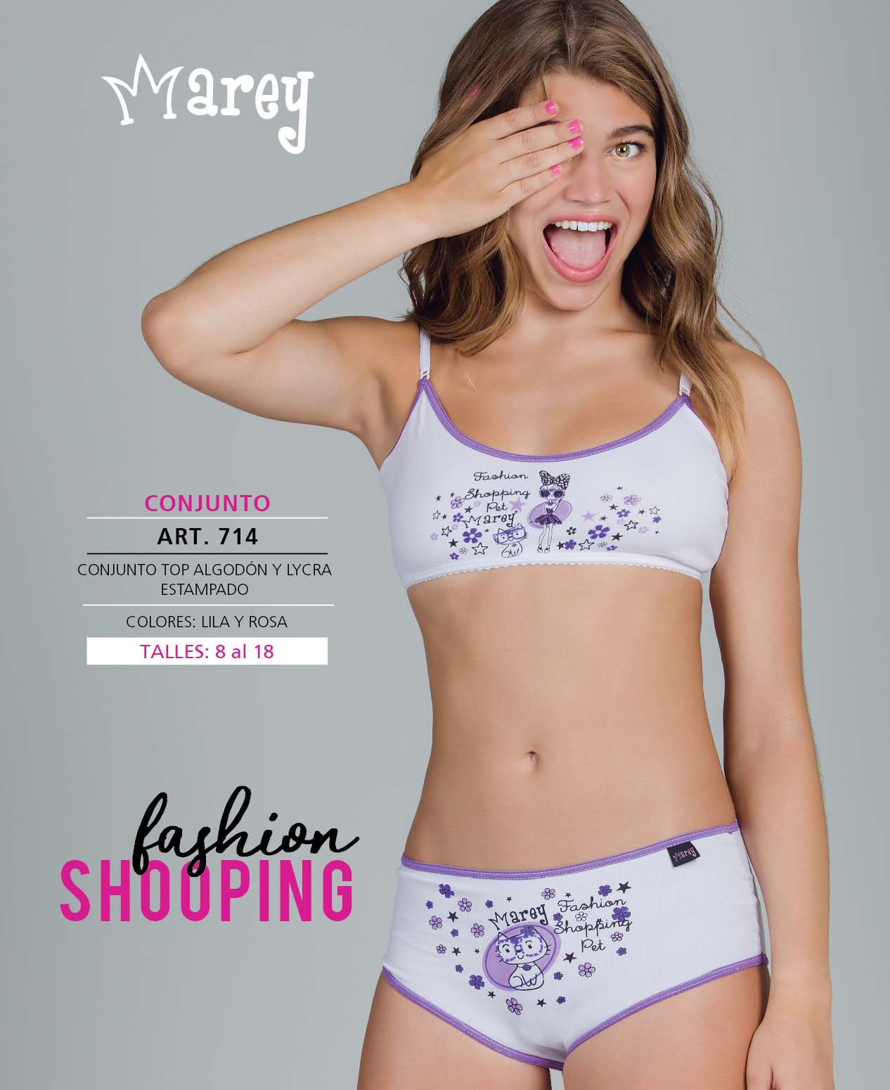 "Conj Top Algodon y Lycra estampado ""FASHION SHOPPING"""