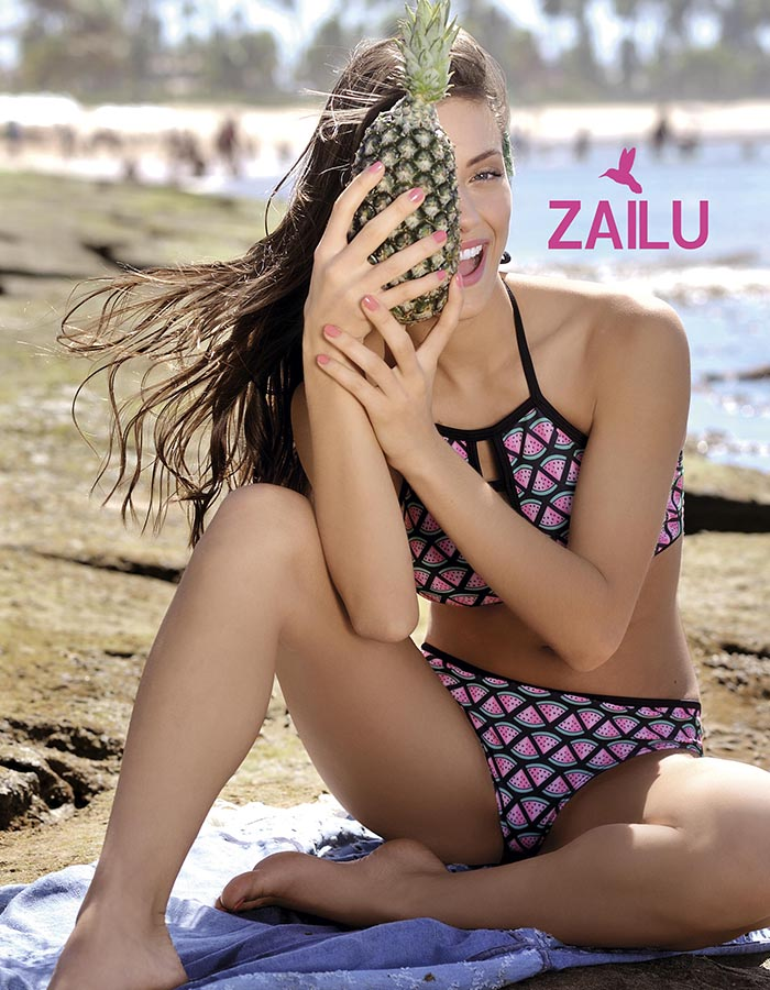 "Cnj.Tricot Top halter y Coul.Less Est.""Watermelon"""