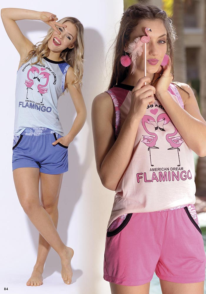 Pijama  spun y viscosa estampada 2 piezas remera S/M y short FLAMINGO